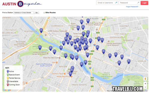 Map of Austin BCycle spots